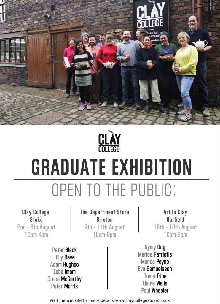 Graduate shows public opening for Clay College Stoke 2019